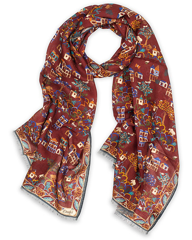 Drake's Wool/Silk Antique Village Printed Scarf Burgundy  i gruppen Assesoarer / Scarves hos Care of Carl (14996410)