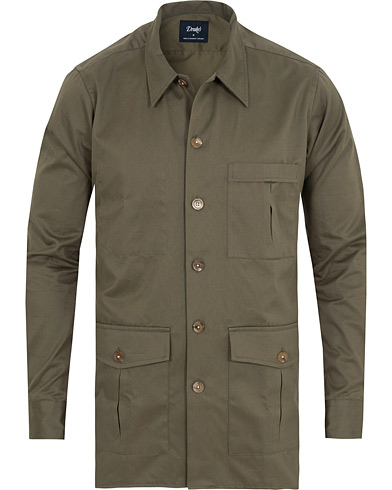 Drake's 3 Pocket Shacket Khaki i gruppen Klær / Skjorter / Casual / Overshirts hos Care of Carl (15000411r)