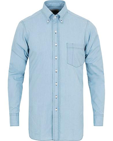 Drake's Slim Fit Denim Pocket Shirt Light Washed