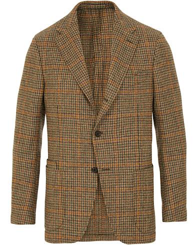Drake's Checked Tweed Jacket Camel