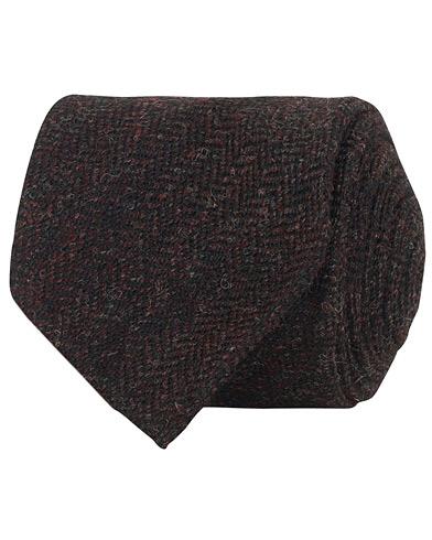 Drake's Wool Herringbone 8 cm Tie Dark Brown