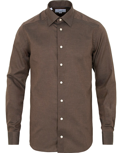 Eton Slim Fit Non Iron Flannel Shirt Brown i gruppen Klær / Skjorter / Casual / Flanellskjorter hos Care of Carl (15013911r)