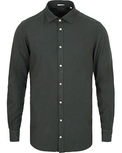 Massimo Alba Genova Slim Fit Light Flannel Shirt Bottle Green