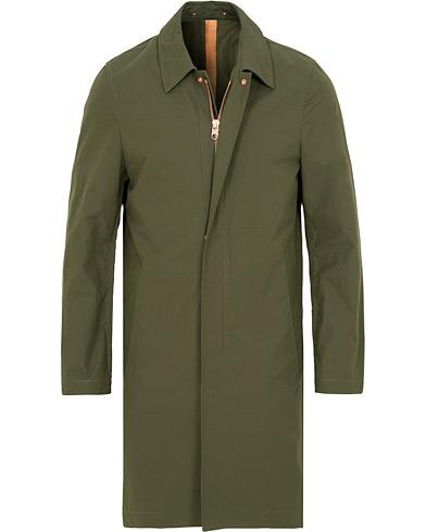 Private White V.C. Unlined Cotton Ventile Mac Coat Olive