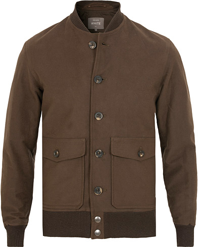 Private White V.C. Moleskin Bomber Jacket Brown
