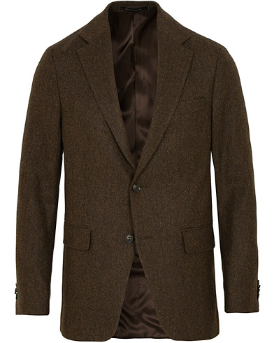 Oscar Jacobson Ego Yorkshire Tweed by Moon Herringbone Blazer Brown