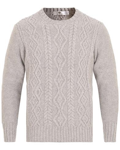 Inis Meáin Aran Knitted Crew Neck Sweater Light Grey