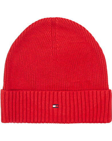 Tommy Hilfiger Cotton/Cashmere Beanie Red  i gruppen Assesoarer / Luer hos Care of Carl (15092110)