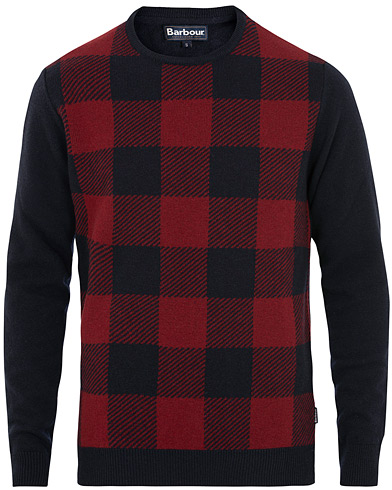 Barbour Lifestyle Buffalo Tartan Knit Navy i gruppen Klær / Gensere / Strikkede gensere hos Care of Carl (15101711r)
