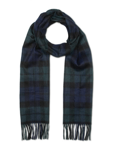 Barbour Lifestyle New Check Tartan Lambswool/Cashmere Scarf Black Watch  i gruppen Assesoarer / Skjerf hos Care of Carl (15103110)