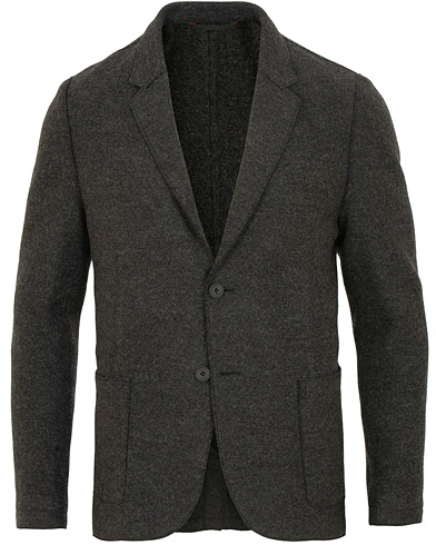 HUGO Agaltu Wool Raw Edge Blazer Dark Grey i gruppen Klær / Dressjakker / Enkeltspente dressjakker hos Care of Carl (15159411r)