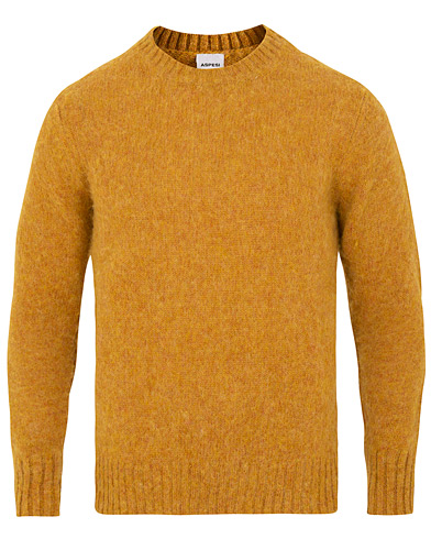 Aspesi Crew Neck Shetland Sweater Yellow i gruppen Klær / Gensere / Strikkede gensere hos Care of Carl (15162811r)