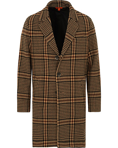 Barena Memo Single Breasted Prince Of Wales Coat Cammello