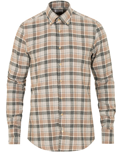 Stenströms Slimline Flannel Check Shirt Brown/Grey i gruppen Klær / Skjorter / Casual / Flanellskjorter hos Care of Carl (15178111r)