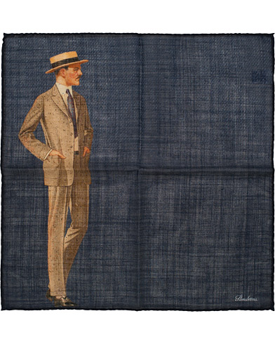 Stenströms Wool/Silk Printed Gentleman Pocket Square Dark Blue  i gruppen Assesoarer / Lommetørklær hos Care of Carl (15185610)