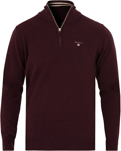 GANT Superfine Lambswool Half Zip Dark Burgundy Melange i gruppen Klær / Gensere / Zip-gensere hos Care of Carl (15204911r)