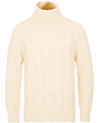 GANT Chunky Cable Turtleneck Off White