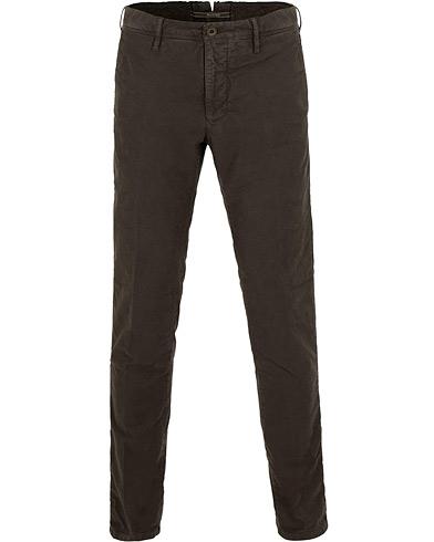 Incotex Slim Fit Garment Dyed Washed Slacks Dark Brown