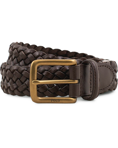 Polo Ralph Lauren Braided Leather Belt Dark Brown i gruppen Assesoarer / Belter / Flettede belter hos Care of Carl (15268811r)
