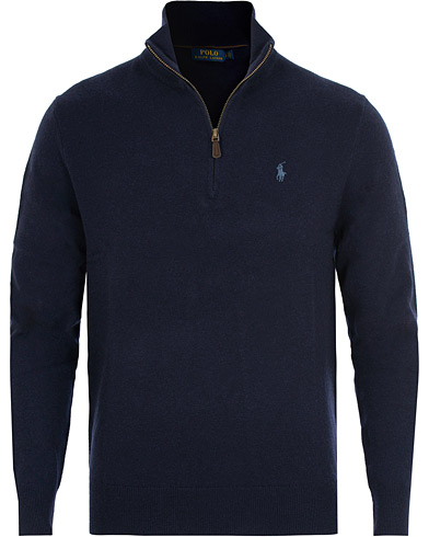 Polo Ralph Lauren Merino Half Zip Hunter Navy i gruppen Klær / Gensere / Zip-gensere hos Care of Carl (15269811r)