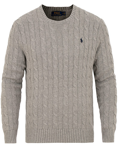 Polo Ralph Lauren Cotton Cable Crew Neck Fawn Grey Heather