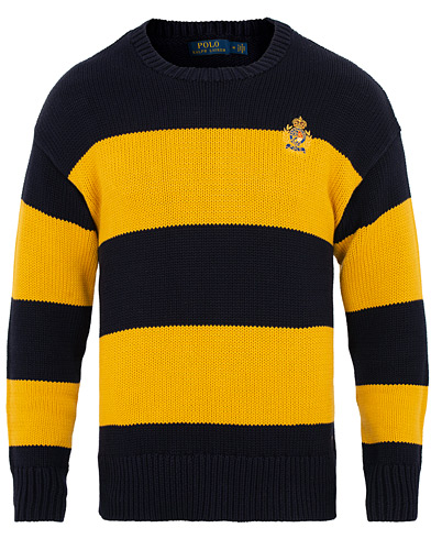 Polo Ralph Lauren Cotton Crest Barstripe Crew Neck Gold/Navy i gruppen Klær / Gensere / Strikkede gensere hos Care of Carl (15272211r)