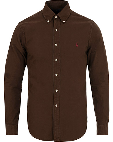 Polo Ralph Lauren Slim Fit Garment Dyed Oxford Shirt Mohican Brown i gruppen Klær / Skjorter / Casual / Oxfordskjorter hos Care of Carl (15283811r)