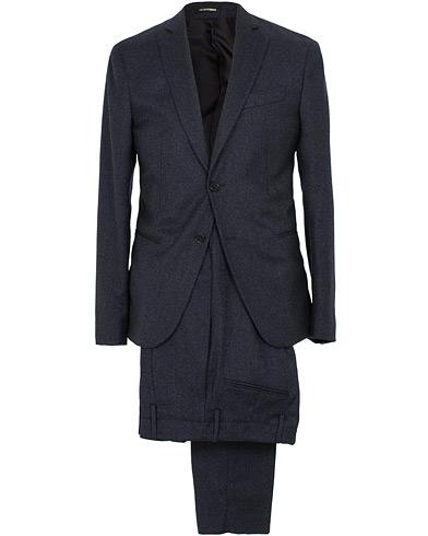 Emporio Armani F-Line Fitted Flannel Suit Dark Blue