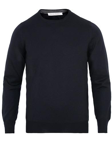 Gran Sasso Merino Fashion Fit Crew Neck Pullover Navy