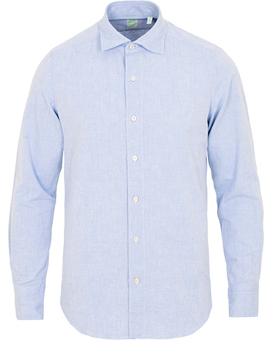 Finamore Napoli Tokyo Slim Fit Winter Chambray Shirt Light Blue i gruppen Klær / Skjorter / Casual / Casual skjorter hos Care of Carl (15322111r)