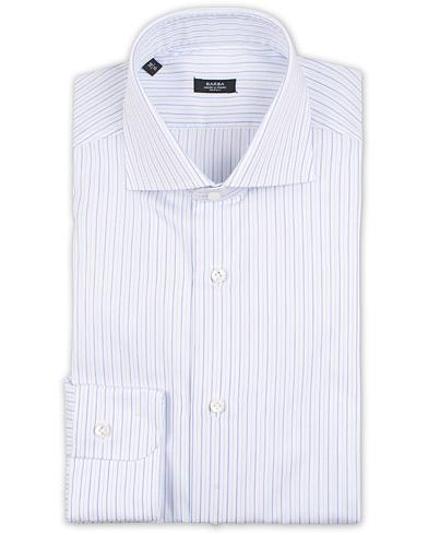 Barba Napoli Slim Fit Thin Stripe Shirt Light Blue