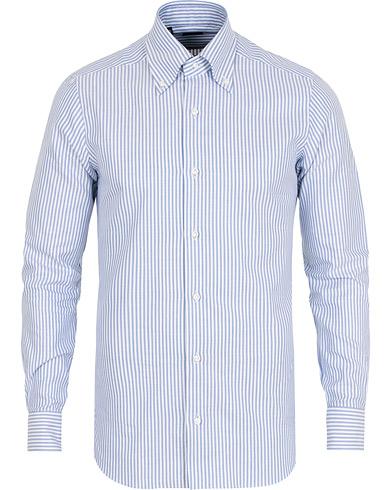 Barba Napoli Slim Fit Striped Oxford Button Down Shirt Blue