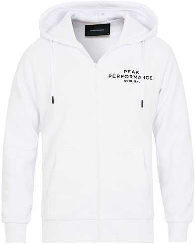 Peak Performance Logo Full Zip Hoodie White i gruppen Klær / Gensere / Hettegensere hos Care of Carl (15409111r)