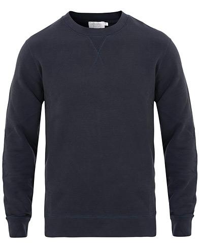 Sunspel Loopback Crew Neck Sweatshirt Navy