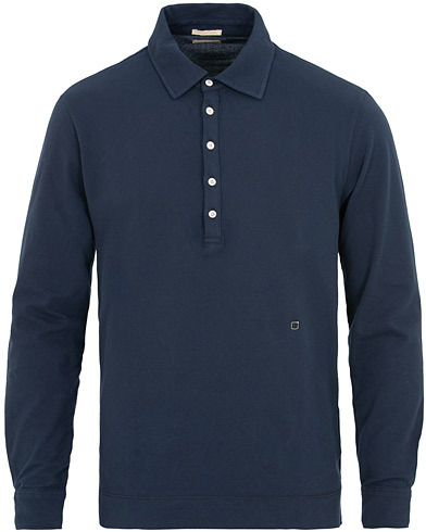 Massimo Alba Raya Piquet Stretch Long Sleeve Polo Navy i gruppen Klær / Pikéer / Langermet piké hos Care of Carl (15454911r)