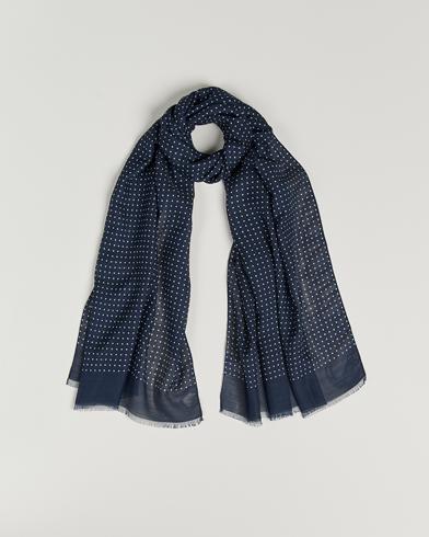 Eton Silk Wool Polka Dot Scarf Blue