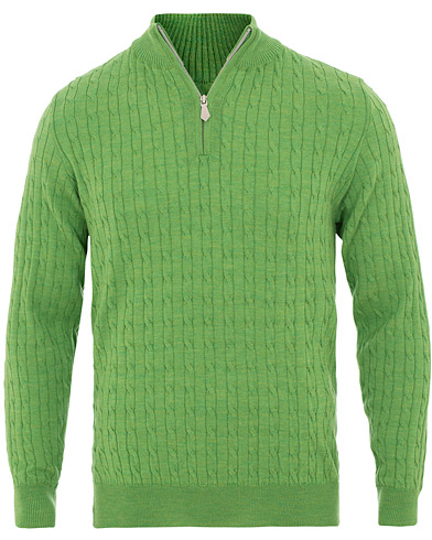 Stenströms Merino Wool Cable Half Zip Light Green i gruppen Klær / Gensere / Zip-gensere hos Care of Carl (15473211r)