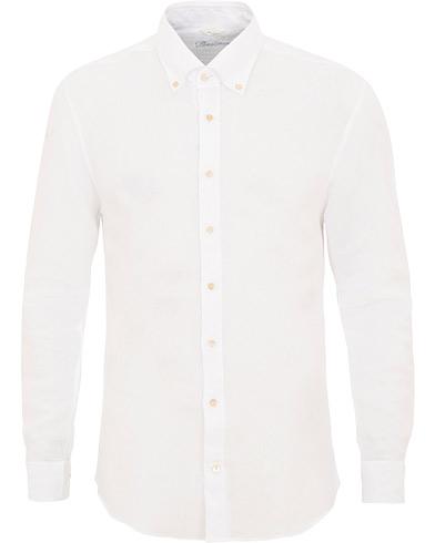 Stenströms Slimline Button Down Linen Shirt White