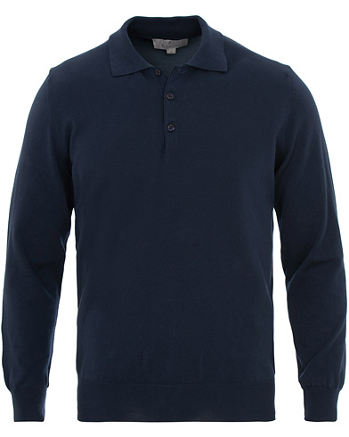 Canali Cotton Knitted Long Sleeve Polo Navy i gruppen Klær / Gensere / Strikkede pikéer hos Care of Carl (15488311r)