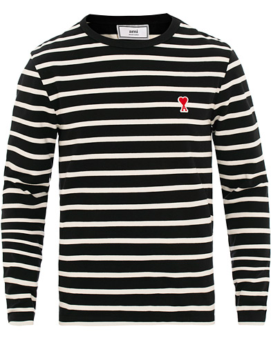 AMI Striped Long Sleeve Tee Black/White i gruppen Klær / T-Shirts / Langermede t-shirts hos Care of Carl (15498111r)