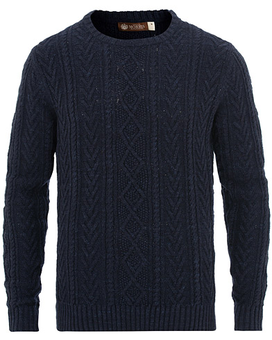 Morris Heritage Cable Sweater Navy i gruppen Klær / Gensere / Strikkede gensere hos Care of Carl (15514411r)