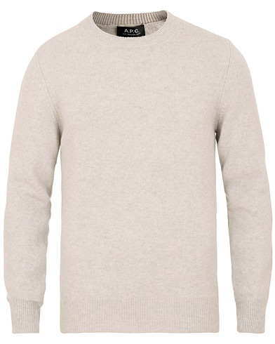 A.P.C Colin Brushed Lambswool/Cotton Crew Neck Grey Melange i gruppen Klær / Gensere / Strikkede gensere hos Care of Carl (15517411r)