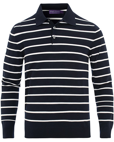 Ralph Lauren Purple Label Striped Knitted Polo Navy/White i gruppen Klær / Gensere / Strikkede pikéer hos Care of Carl (15534611r)