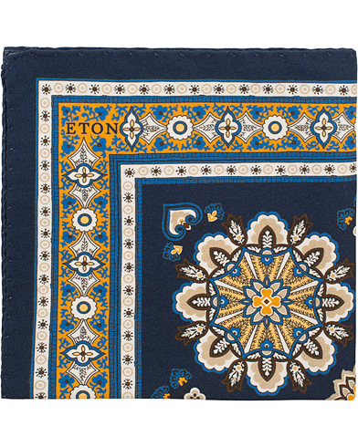 Eton Cotton/Silk Printed Pocket Square Blue  i gruppen Assesoarer / Lommetørklær hos Care of Carl (15540110)