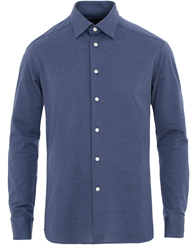 Eton Slim Fit Jersey Button Under Shirt Blue i gruppen Klær / Skjorter / Casual / Pikéskjorter hos Care of Carl (15541011r)