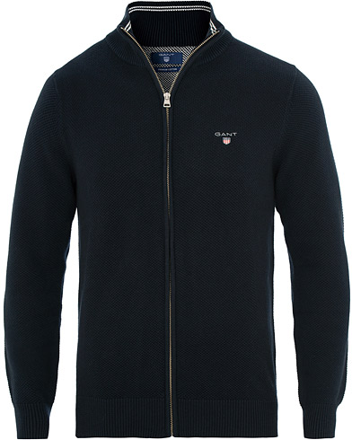 GANT Cotton Pique Full Zip Evening Blue i gruppen Klær / Gensere / Zip-gensere hos Care of Carl (15571811r)