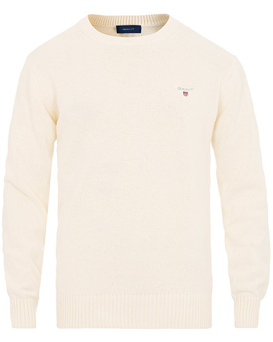 GANT Casual Cotton Crew Neck Cream i gruppen Klær / Gensere / Strikkede gensere hos Care of Carl (15573311r)