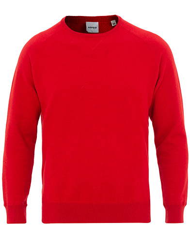 Aspesi Cotton Cashmere Sweatshirt Red i gruppen Klær / Gensere / Strikkede gensere hos Care of Carl (15586111r)