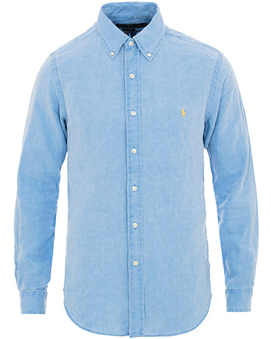 Polo Ralph Lauren Slim Fit Linen Shirt Riviera Blue i gruppen Klær / Skjorter / Casual / Linskjorter hos Care of Carl (15592611r)