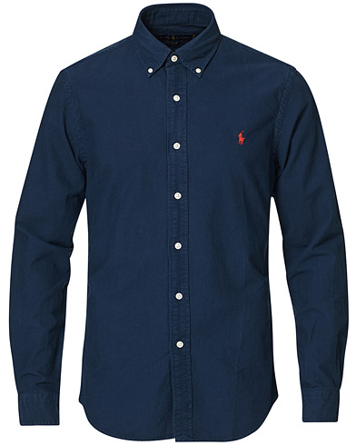 Polo Ralph Lauren Slim Fit Garment Dyed Oxford Shirt Navy i gruppen Klær / Skjorter / Casual / Oxfordskjorter hos Care of Carl (15594011r)